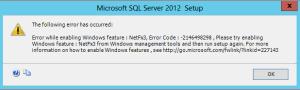Error While Enabling Windows Feature netfx3